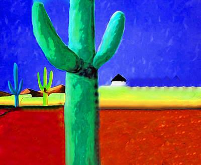 Cactus Red By Nixo Print by Nicholas Nixo