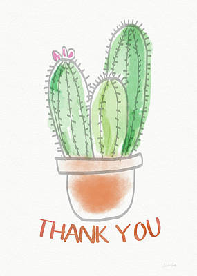 Note Card Painting - Cactus Thank You - Art By Linda Woods by Linda Woods