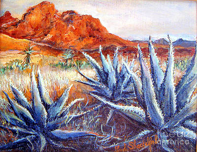Art Print featuring the painting Cactus View by Linda Shackelford