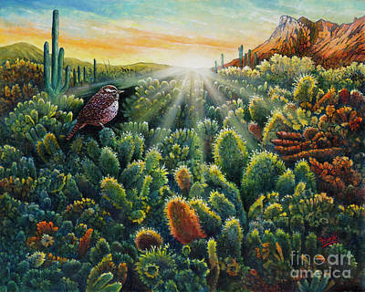 Painting - Cactus Wren by Michael Frank