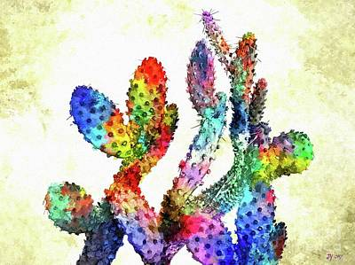 Mixed Media - Cactuses by Daniel Janda