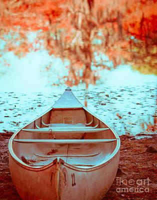 Texas Lake Photograph - Caddo Canoe In Fall by Sonja Quintero