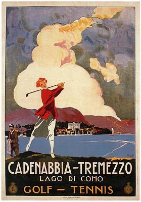 Royalty-Free and Rights-Managed Images - Cadenabbia Tremezzo, Golf and Tennis - Golf Club - Retro travel Poster - Vintage Poster by Studio Grafiikka
