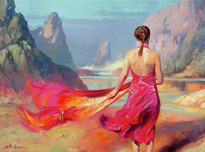 Beach Oil Painting - Cadence by Steve Henderson