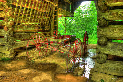 Cades Cove Carriage At Cantilever Barn Art Print by Reid Callaway