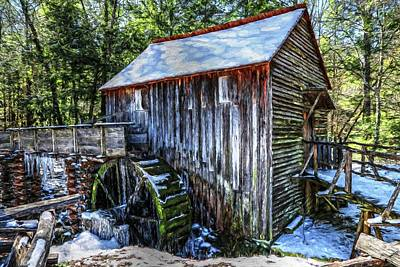 Design Turnpike Vintage Farmouse - Cades Cove Grist Mill In Winter Painting by Carol Montoya