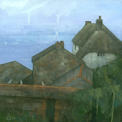 Rooftops Painting - Cadgwith Rooftops by Steve Mitchell