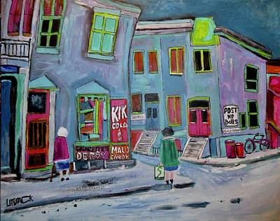 Painting - Vintage Cadieux Street Debullion Neighbourhood by Michael Litvack