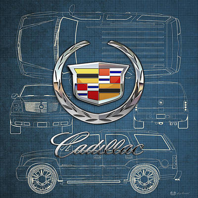 Digital Art - Cadillac 3 D Badge Over Cadillac Escalade Blueprint  by Serge Averbukh