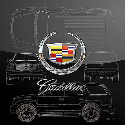 Digital Art - Cadillac 3 D  Badge Over Cadillac Escalade Silver Blueprint On Black Special Edition by Serge Averbukh
