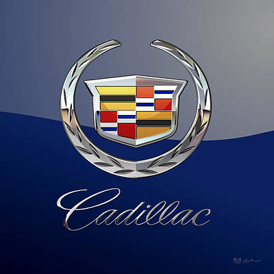 Cadillac 3 D  Badge Special Edition On Blue Art Print