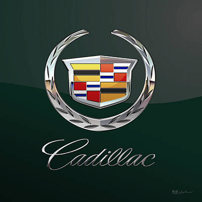 Automotive Digital Art - Cadillac 3 D  Badge Special Edition On Bottle Green by Serge Averbukh