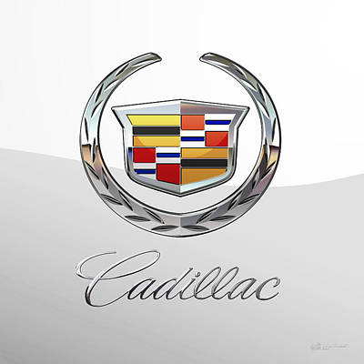 Digital Art - Cadillac 3 D  Badge Special Edition On White by Serge Averbukh