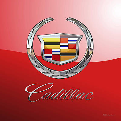 Digital Art - Cadillac - 3d Badge On Red by Serge Averbukh