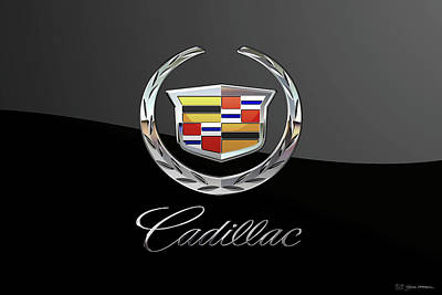 Digital Art - Cadillac Badge - Luxury Edition On Black by Serge Averbukh