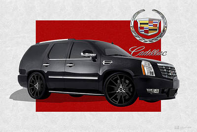 Digital Art - Cadillac Escalade With 3 D Badge  by Serge Averbukh