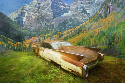Photograph - Cadillac In The Country Mountains by Debra and Dave Vanderlaan