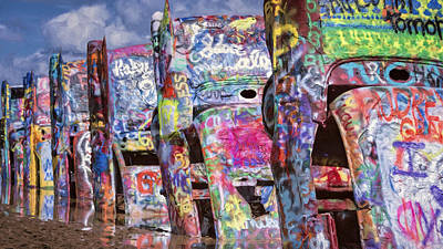 Cadillac Ranch Afternoon Painterly Art Print by Joan Carroll