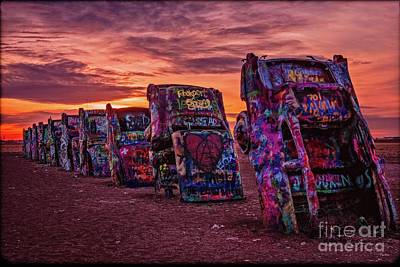 Photograph - Cadillac Ranch At Sunrise  by Imagery by Charly