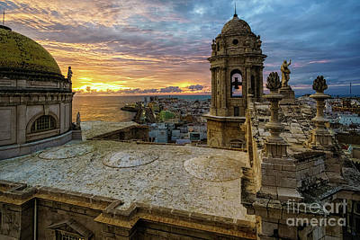 Curated Beach Towels - Cadiz Cathedral View Levante Tower Cadiz Spain by Pablo Avanzini