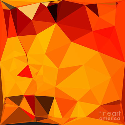 Cadmium Yellow Abstract Low Polygon Background Art Print by Aloysius Patrimonio