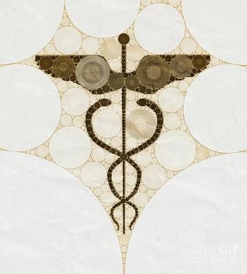 Holy Digital Art - Caduceus By Mb by Mary Bassett