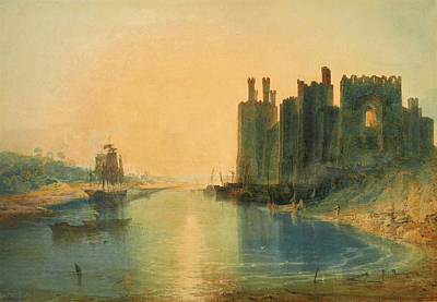 North Wales Drawing - Caernarvon Castle North Wales by Joseph Mallord William Turner