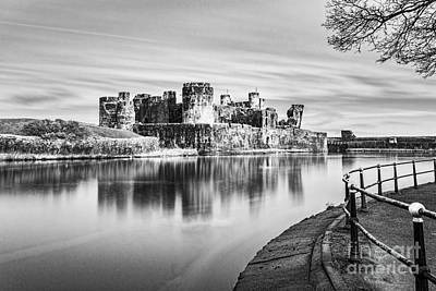 Have A Cupcake - Caerphilly Castle Long Exposure 3 Mono by Steve Purnell