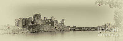 Photograph - Caerphilly Castle Panorama Antique by Steve Purnell