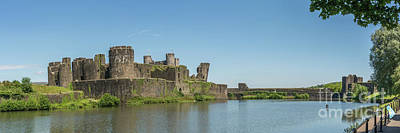 Photograph - Caerphilly Castle Panorama South View by Steve Purnell