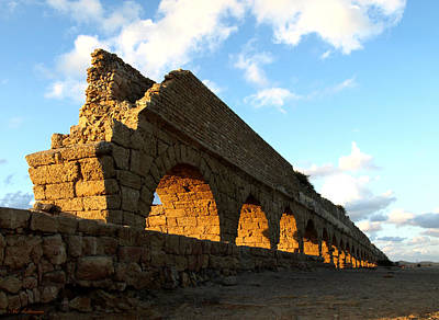 Art Print featuring the photograph Caesarea  Aqueduct At Sunset. by Arik Baltinester