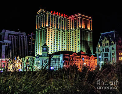 Photograph - Caesars Atlantic City At Night by Nick Zelinsky