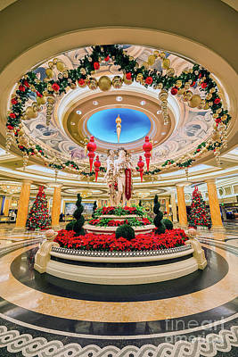 Sunset Photograph - Caesars Palace Main Entrance At Christmas by Aloha Art