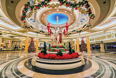 Photograph - Caesars Palace Main Entrance At Christmas Wide by Aloha Art