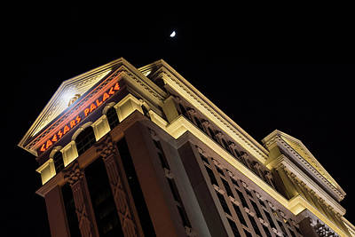 Photograph - Caesars Palace With A Half Moon - Midnight In Las Vegas by Georgia Mizuleva