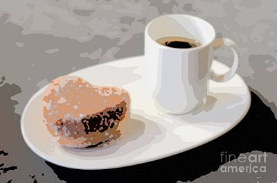 Digital Art - Cafe Americano And Heart Shaped Doughnut by Ari Salmela