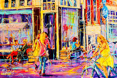 Girl On Bike Painting - Cafe Amsterdam - Lot Sixty One by Mathias