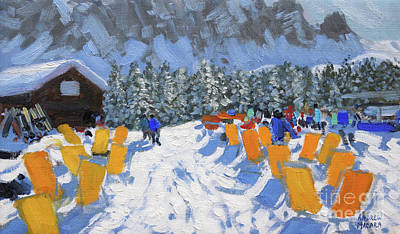 Piste Painting - Cafe And Deckchairs, Selva Gardena, Italy  by Andrew Macara
