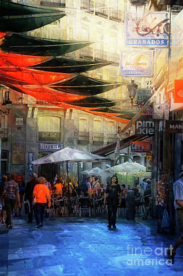 Digital Art - Cafe And Te On A Spanish Street by Mary Machare