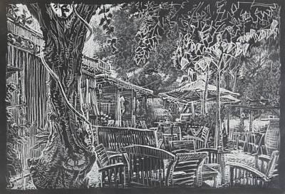 Cafe At Harbour Argen Minervois, France Art Print