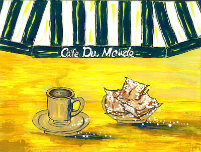 Cafe Du Monde Painting - Cafe Au Lait And Beignets On Yellow Background by Catherine Wilson