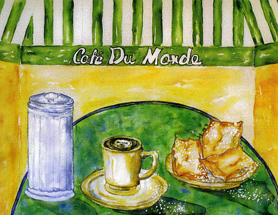 Donuts Painting - Cafe Au Lait And Beignets With Sugar by Catherine Wilson