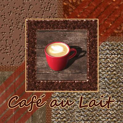 Place Painting - Cafe Au Lait - Coffee Art - Red by Anastasiya Malakhova