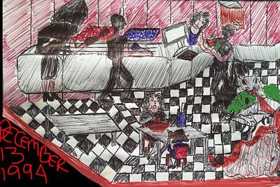 Brunch Drawing - Cafe Bacteria by Marcia Kaye Rogers