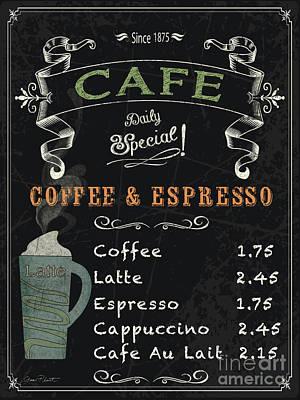 Espresso Painting - Cafe Blackboard Coffee Menu-jp3046 by Jean Plout