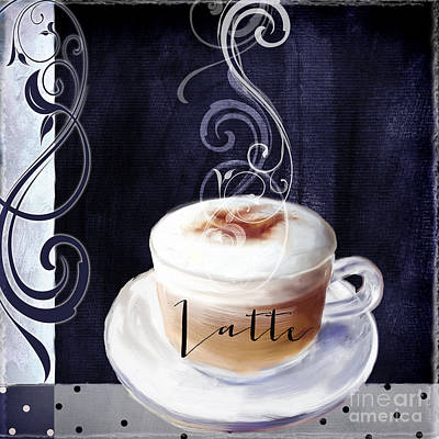 Latte Painting - Cafe Blue II by Mindy Sommers
