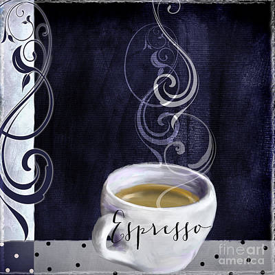 Espresso Painting - Cafe Blue Iv by Mindy Sommers