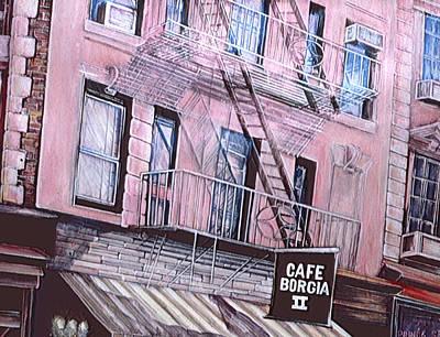 Borgia Painting - Cafe Borgia, New York City by Gaye Elise Beda