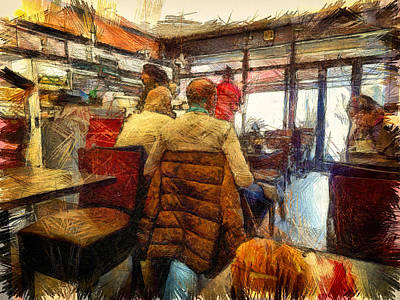 Digital Art - Cafe Break by Leigh Kemp