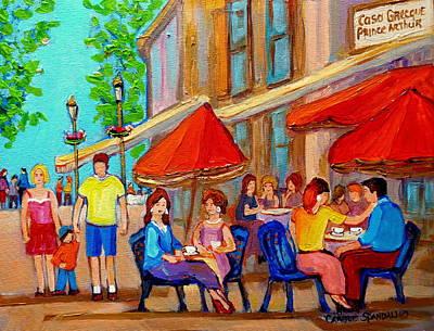 Montreal Landmarks Painting - Cafe Casa Grecque Prince Arthur by Carole Spandau